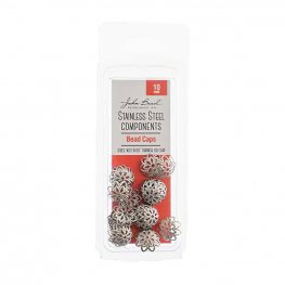 Bead Cap Classic Lacey 10mm - Stainless Steel (24)