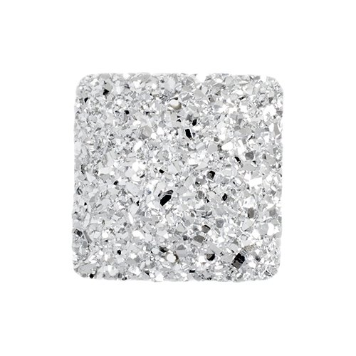 Resin - Fashion Cabochon - 25 mm Square - Silver Sugar (10) (Bulk pack)