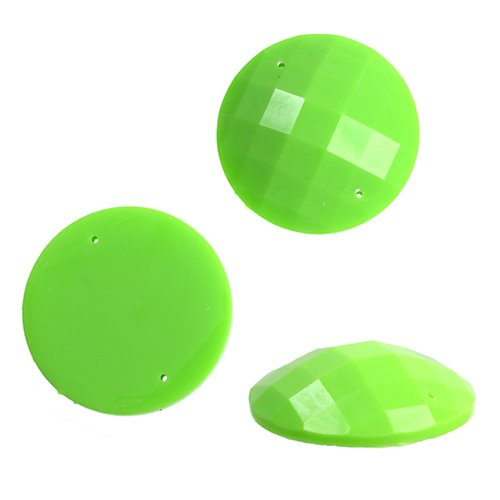 Resin - Fashion Cabochon - 18 mm Faceted Round - Neon Green (10) (Bulk pack)
