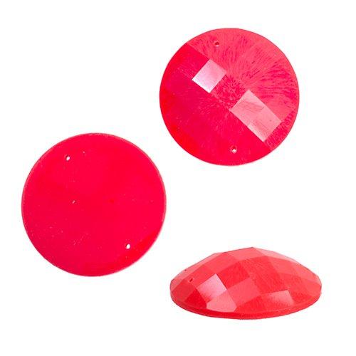 Resin - Fashion Cabochon - 34 mm Faceted Round - Neon Orange (10) (Bulk pack)