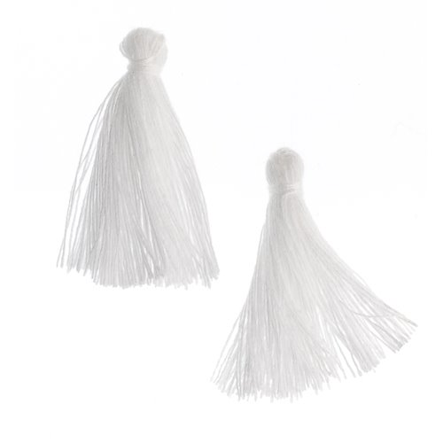 Components - 1 in Cotton Tassels - White (Pack of 20)