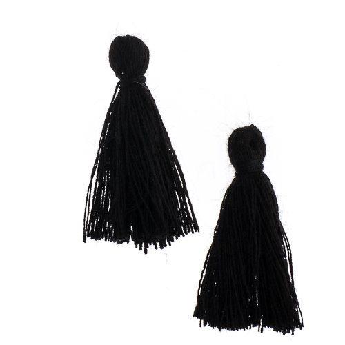 Components - 1 in Cotton Tassels - Black (Pack of 20)