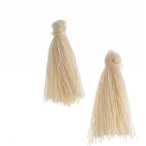Components - 1 in Cotton Tassels - Ivory (Pack of 20)