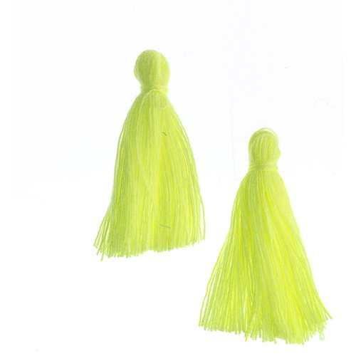 Components - 1 in Cotton Tassels - Sunshine Yellow (Pack of 20)