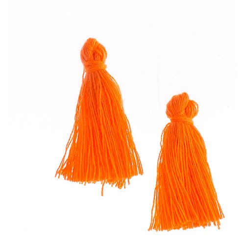 Components - 1 in Cotton Tassels - Orange (Pack of 20)