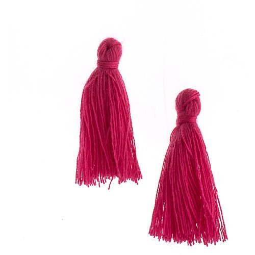 Components - 1 in Cotton Tassels - Fuchsia (Pack of 20)