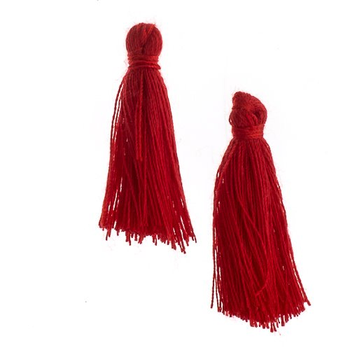 Components - 1 in Cotton Tassels - Red (Pack of 20)