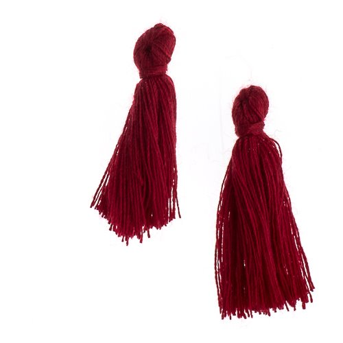 Components - 1 in Cotton Tassels - Burgundy (Pack of 20)