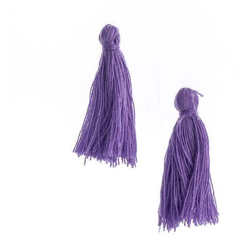 Components - 1 in Cotton Tassels - Purple (Pack of 20)