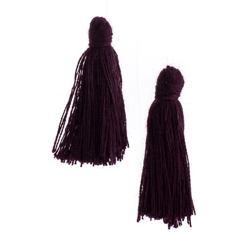 Components - 1 in Cotton Tassels - Eggplant (Pack of 20)