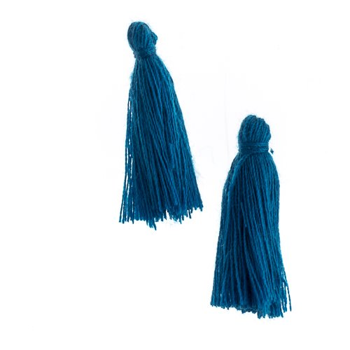 Components - 1 in Cotton Tassels - Indicolite (Pack of 20)
