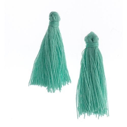 Components - 1 in Cotton Tassels - Turquoise Green (Pack of 20)