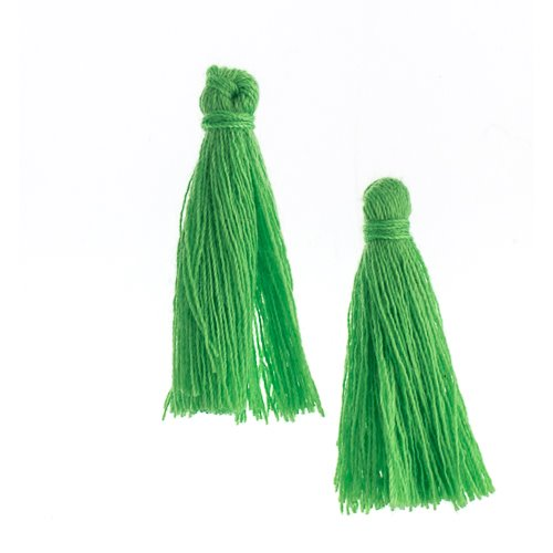 Components - 1 in Cotton Tassels - Grass Green (Pack of 20)