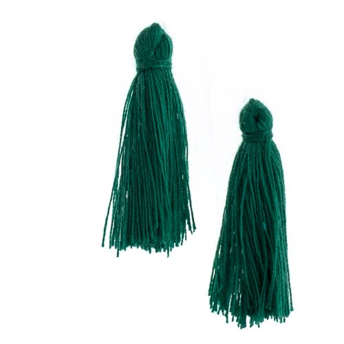 Components - 1 in Cotton Tassels - Emerald (Pack of 20)