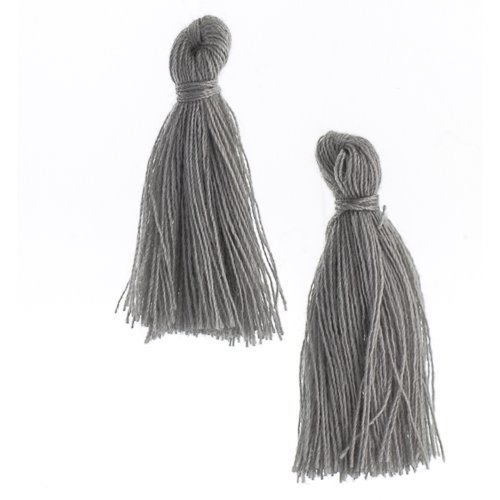 Components - 1 in Cotton Tassels - Dark Grey (Pack of 20)