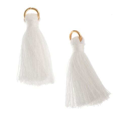 Components - 1 in Poly Cotton Tassels - White (Pack of 10)