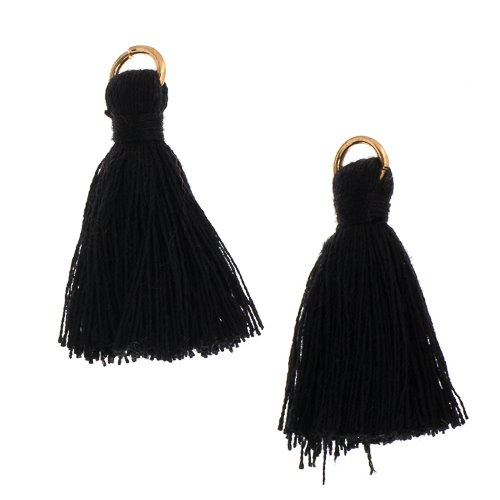 Components - 1 in Poly Cotton Tassels - Black (Pack of 10)
