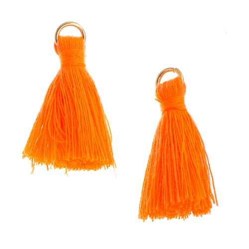 Components - 1 in Poly Cotton Tassels - Orange (Pack of 10)