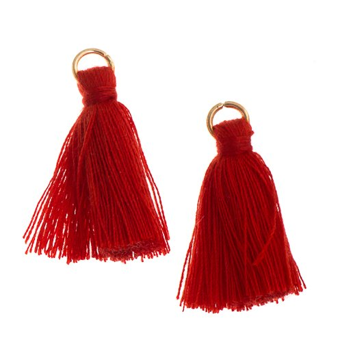 Components - 1 in Poly Cotton Tassels - Red (Pack of 10)