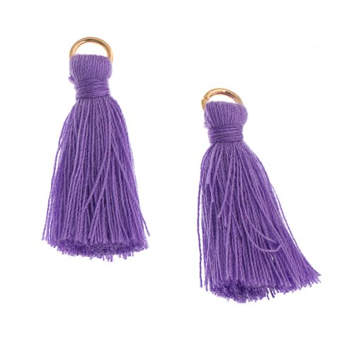 Components - 1 in Poly Cotton Tassels - Purple (Pack of 10)