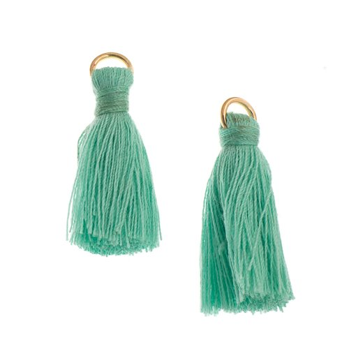 Components - 1 in Poly Cotton Tassels - Turquoise (Pack of 10)