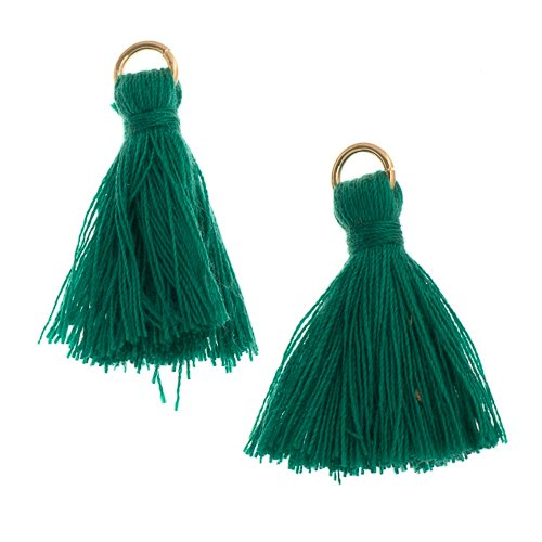 Components - 1 in Poly Cotton Tassels - Emerald (Pack of 10)