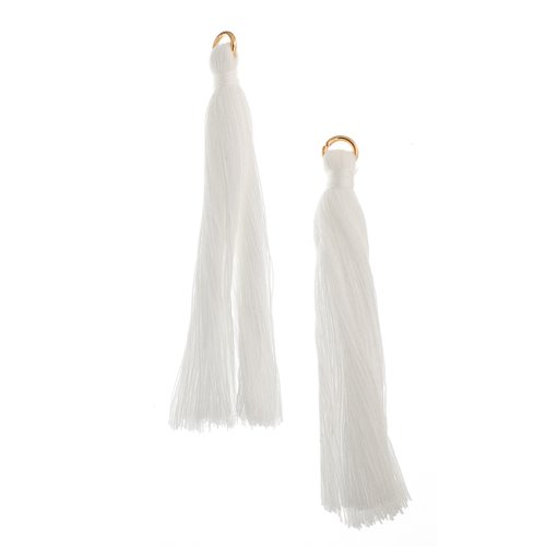 Components - 2.25 in Poly Cotton Tassels - White (Pack of 10)