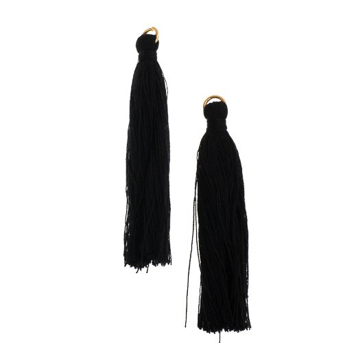 Components - 2.25 in Poly Cotton Tassels - Black (Pack of 10)