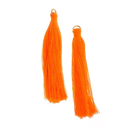Components - 2.25 in Poly Cotton Tassels - Orange (Pack of 10)