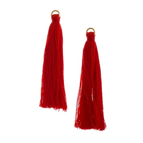 Components - 2.25 in Poly Cotton Tassels - Red (Pack of 10)