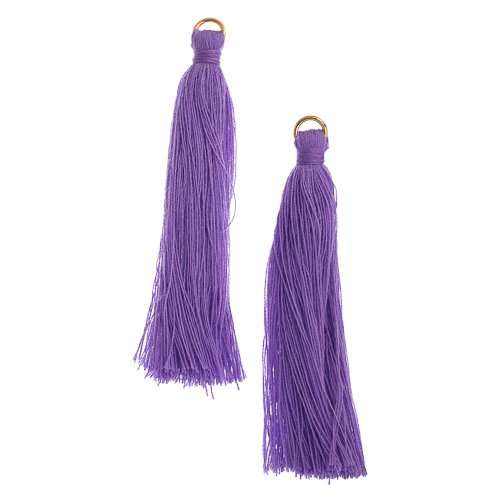 Components - 2.25 in Poly Cotton Tassels - Purple (Pack of 10)