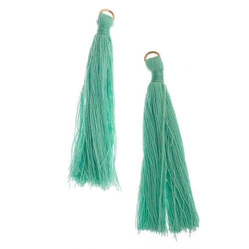 Components - 2.25 in Poly Cotton Tassels - Turquoise (Pack of 10)
