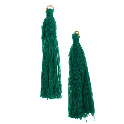 Components - 2.25 in Poly Cotton Tassels - Emerald (Pack of 10)