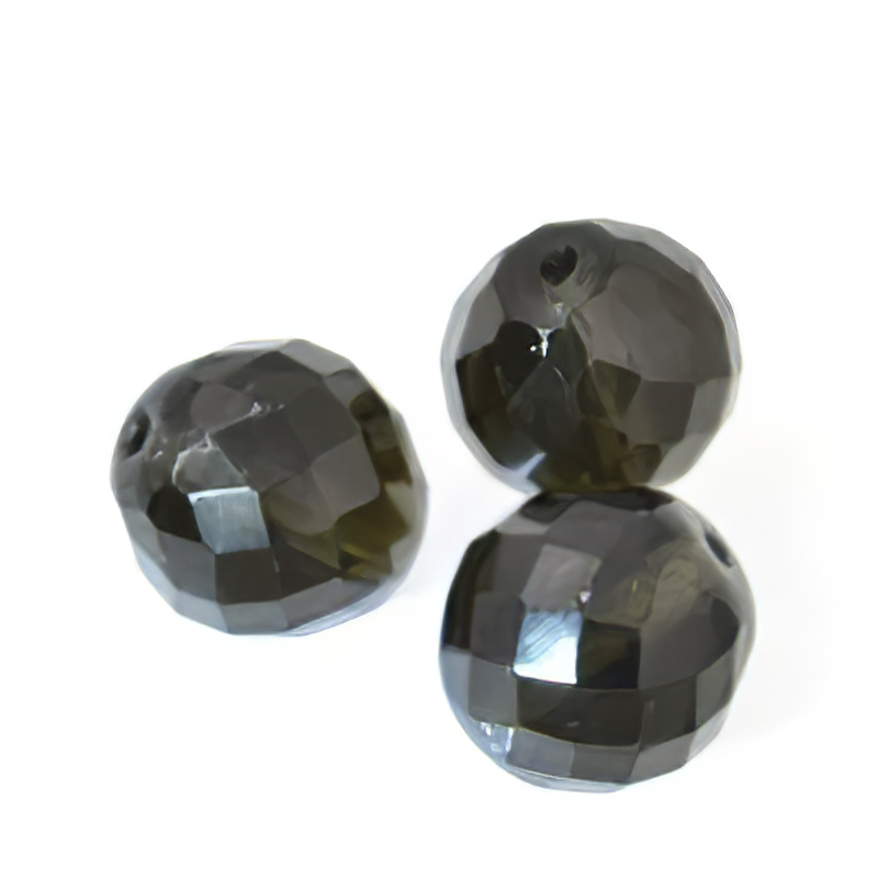 Firepolish - 18 mm Faceted Round - Black Diamond
