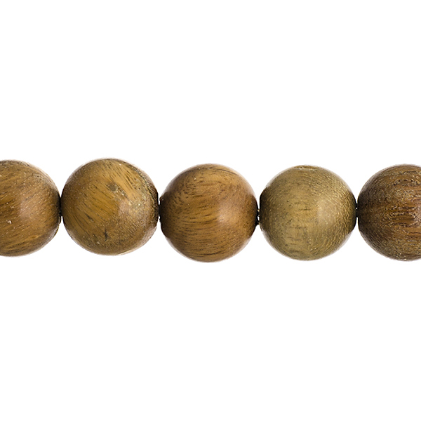 Wood Beads - 12 mm Round Sandalwood - Light Green (strand)