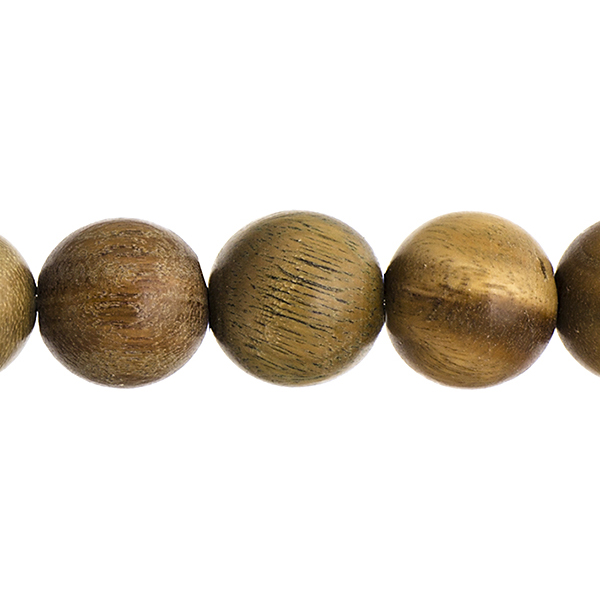 Wood Beads - 15 mm Round Sandalwood - Light Green (strand)
