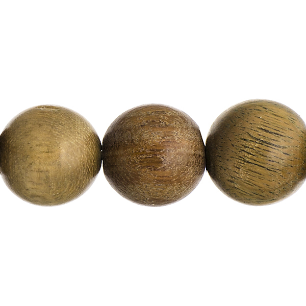 Wood Beads - 18 mm Round Sandalwood - Light Green (strand)