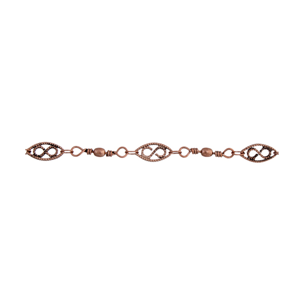 Chain - 10.5x5mm Chain w Beads - Antique Copper (5 m card)
