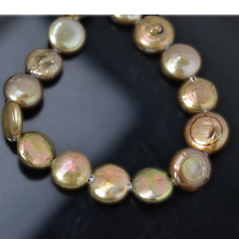 Freshwater Pearls - 13 mm Coin Pearl - Bronze (strand)