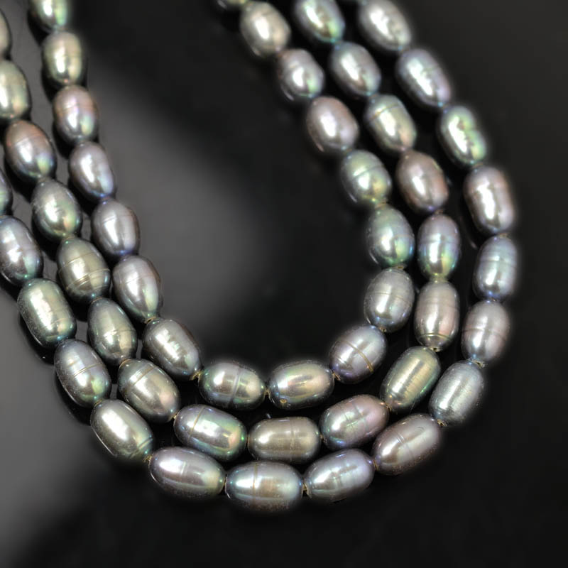Freshwater Pearls - 6 mm Oval Pearl - Silver Pearl (strand)