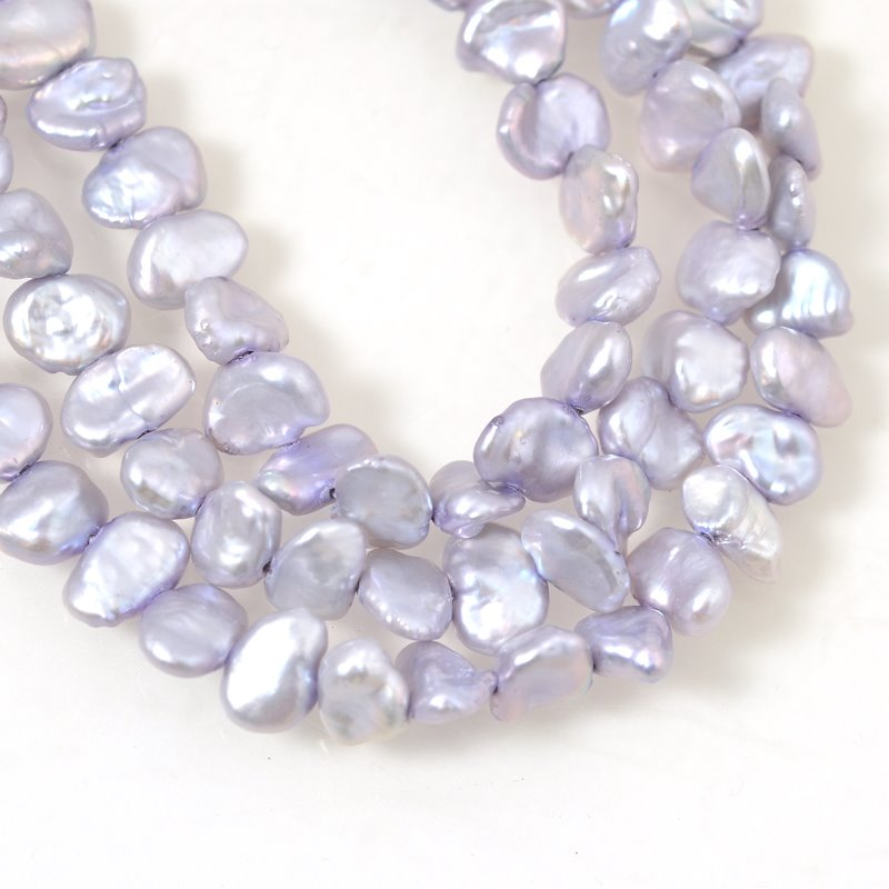 Freshwater Pearls - 6-9 x 8 mm Baroque Flat Pearl Nuggets - Mauve (strand)