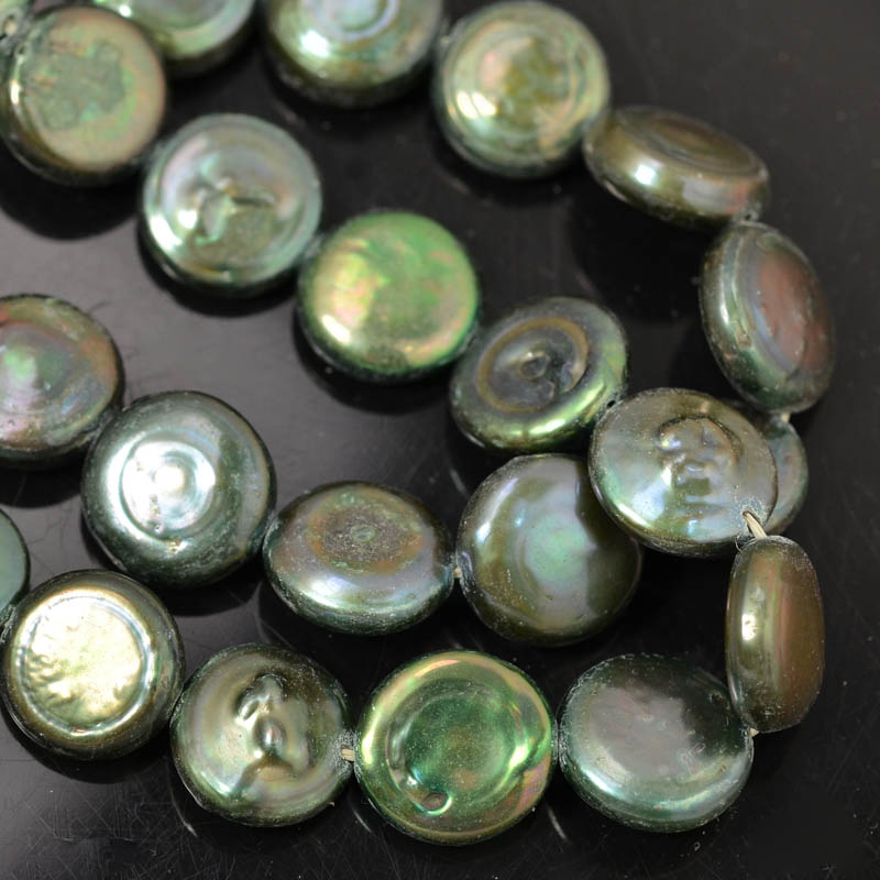 Freshwater Pearls - 12 mm Coin Pearl - Forest Green (strand)