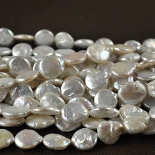 Freshwater Pearls - 14 mm Baroque Coin Pearl - White Pearl (strand)