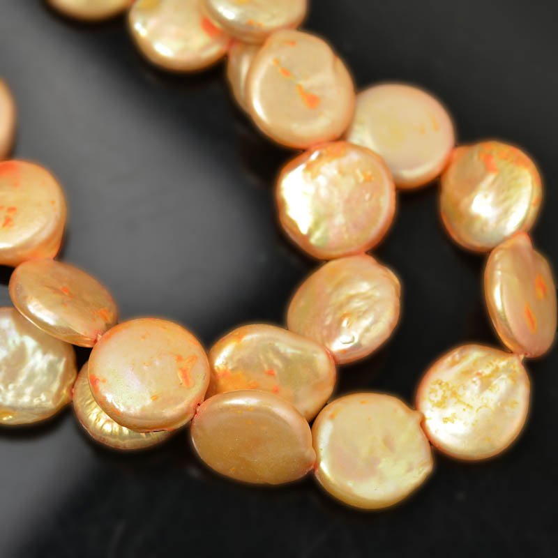 Freshwater Pearls - 15 mm Coin Pearl - Peach Pearl (strand)