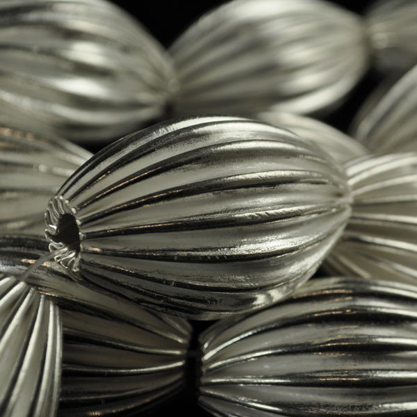 Metal Bead - Corrugated Olive Bead - Bright Silver