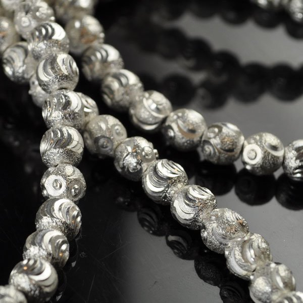 Metal Bead - Cut Stardust Round - Bright Silver (strand)