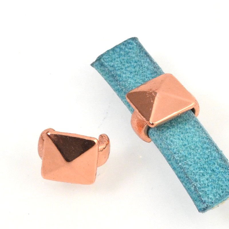 Beads - 5 mm Flat Leather - Square Stud - Bright Copper (5)