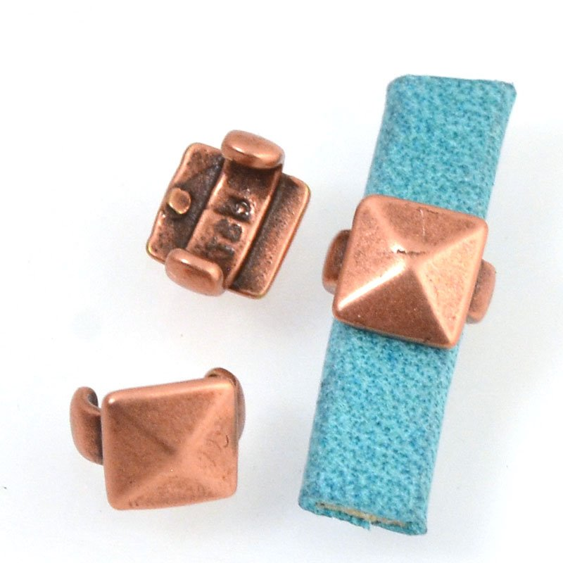 Beads - 5 mm Flat Leather - Square Stud - Antiqued Copper (5)