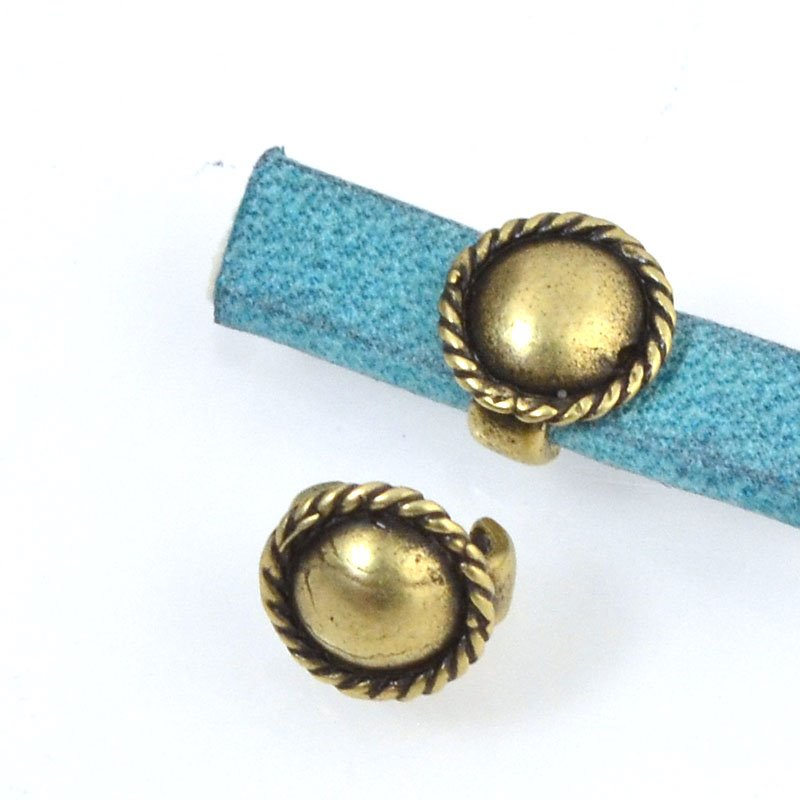 Beads - 5 mm Flat Leather - Round Button Stud - Antiqued Brass (5)