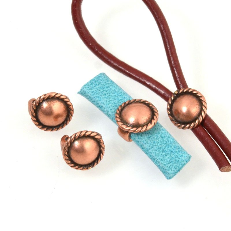 Beads - 5 mm Flat Leather - Round Button Stud - Antiqued Copper (5)